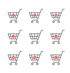 set of black thin line shopping cart logo vector image