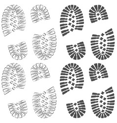 set of drawings with footprints of shoes vector image