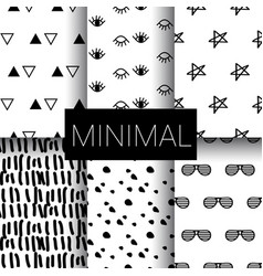 Set of minimal seamless patterns vector