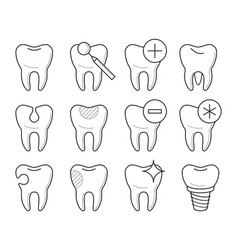 Set of teeth in different conditions vector