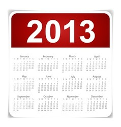 Simple 2013 year calendar vector image