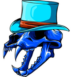 skull tiger with hat vector image