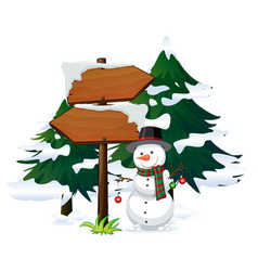 Snowman with signboard template vector