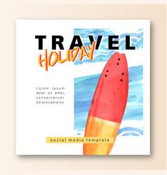 Social media travel on holiday summer beach vector