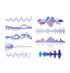 sound waves set audio digital equalizer vector image