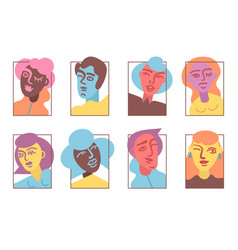 Strange people avatar icons set flat vector
