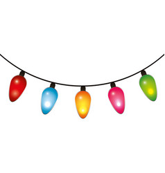 string of color christmas light bulbs isolated on vector image