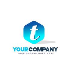 t letter logo hexagon shape modern design vector image