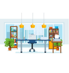 the interior of the office room with a workplace vector image