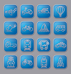 Transport glossy icons vector