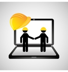 Under construction web page team worker vector