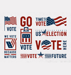 usa election motivation typography and logos set vector image