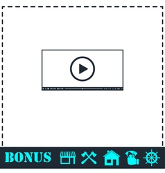 Video player for web icon flat vector