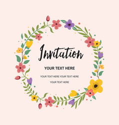 Wedding invitation greeting card circle vector