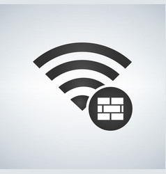 Wifi connection signal icon with firewall or vector
