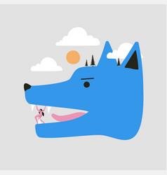 With blue wolf head and woman concept art vector