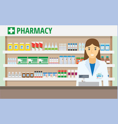 woman pharmacist at the counter in a pharmacy vector image