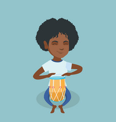 Young african woman playing ethnic drum vector