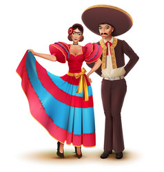 young woman and man in mexican national vector image