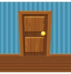 Cartoon Wooden Door Home Interior vector image