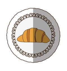 emblem croissant bread icon vector image