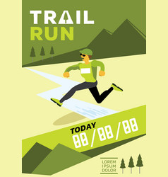 Man with glasses jumping trail run vector