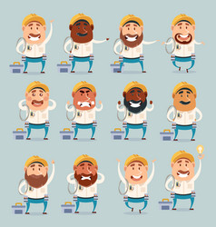 set of electrician flat icons vector image