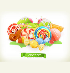 Sweet shop swirl candy lollipop caramel candy vector