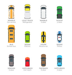 automobiles collection with names on white vector image vector image