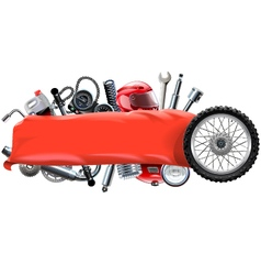 Banner with motorcycle spares vector