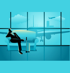 Businessman waiting his flight at the airport vector