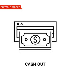 cash out icon thin line vector image vector image