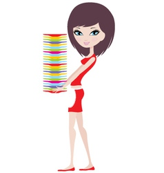 girl holds a pile of plates vector image vector image