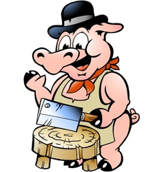 Hand-drawn of an Butcher Pig vector image