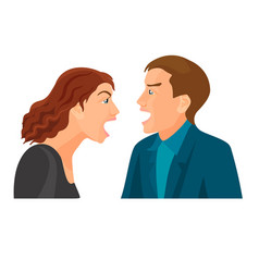 husband and wife have fight and scream at each vector image