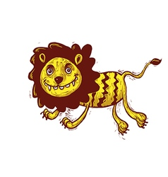 Lion cartoon jumping vector image vector image