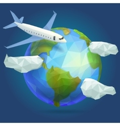 Low poly planet Earth plane in the sky with vector image vector image