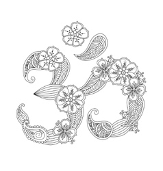 Om or Aum sign lined with flowers and leaves vector image
