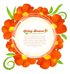 Orange flowers circle frame vector image vector image