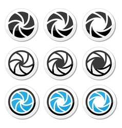 Camera shutter aperture icons set vector image vector image