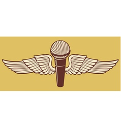 Classic Microphone with wings vector image vector image