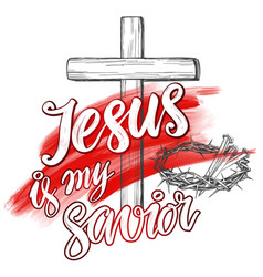 crown of thorns nails easter jesus is my savior vector image vector image