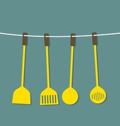 Flat Design Set Of Utensils Hang On A Rope vector image
