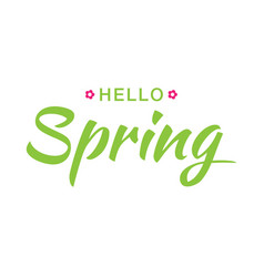hello spring banner background with paper flowers vector image