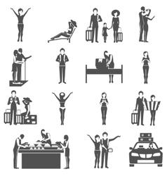 International tourism travelling black icons set vector