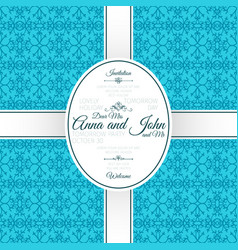 invitation card with blue arabic pattern vector image