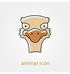 Ostrich flat icon Animal head vector image