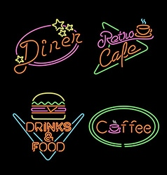 Retro neon light sign set food coffee drink vector