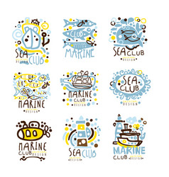 sea club marine club set for label design vector image