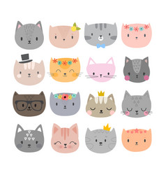 set of cute fashion cats funny doodle animals vector image vector image